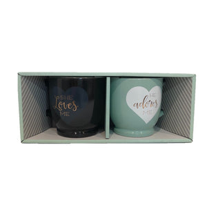 she loves me he adores me mug set for couple