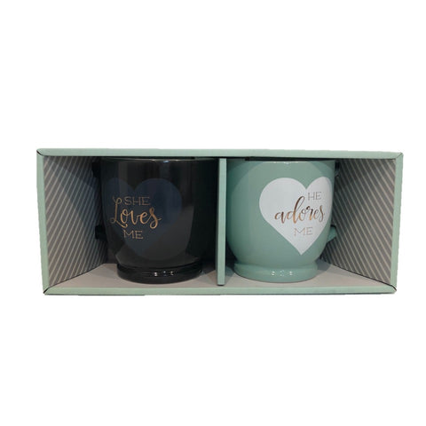 Image of she loves me he adores me mug set for couple