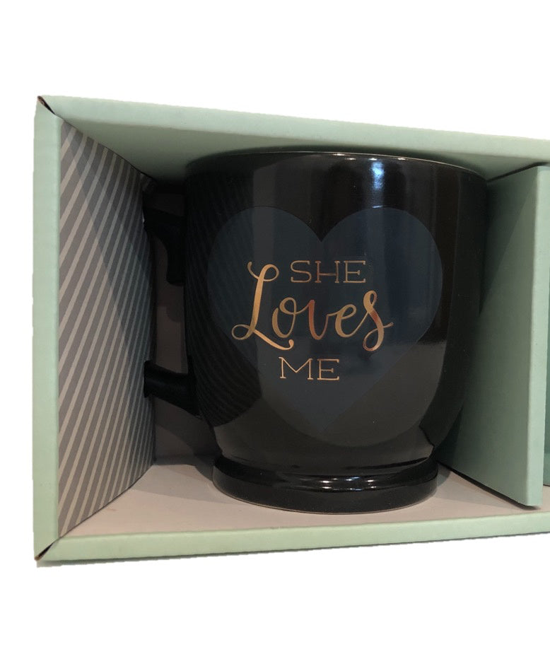 She Loves Me & He Adores Me Romantic Mug Set
