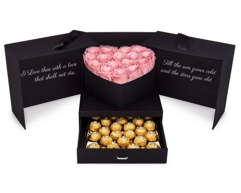 Image of Pink Roses & Chocolates Gift Box