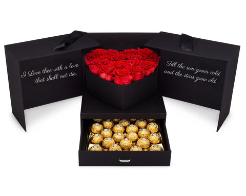 Image of eternal preserved red roses and chocolates gift box for mother's day