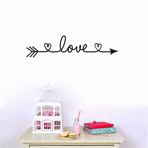 Image of romantic bedroom wall decoration vinyl sticker spelling love