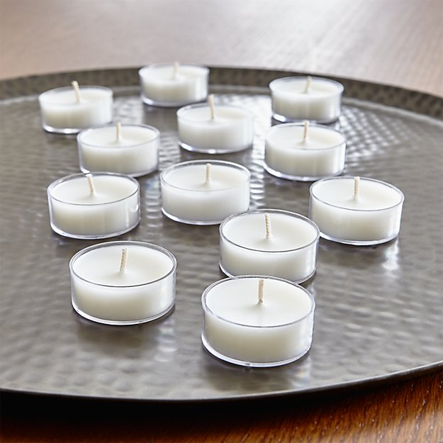 white unscented tea lights in clear cups set of 24