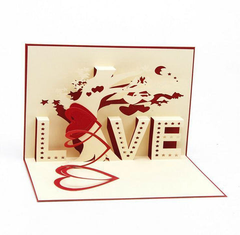 Image of romantic anniversary greeting card spelling love