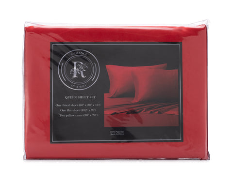 Image of king or queen size red satin bedding for romantic night