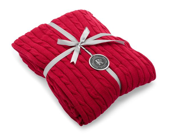 red cotton knit throw blanket