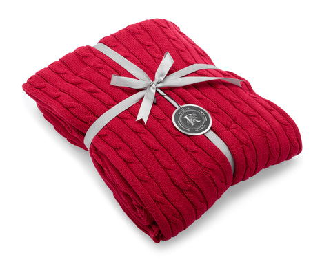 Image of red cotton knit blanket