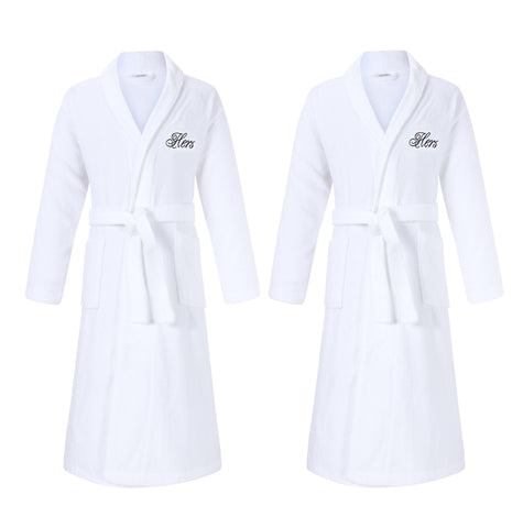 hers and hers lesbian bathrobes gift set for lesbian anniversary and wedding gifts