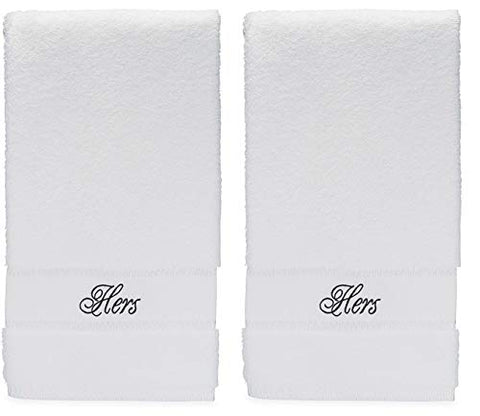 hers and hers lesbian hand towels set for lesbian wedding gift or lesbian anniversary gifts