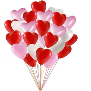 Pink, Red & White Heart Latex Balloon Set of 24