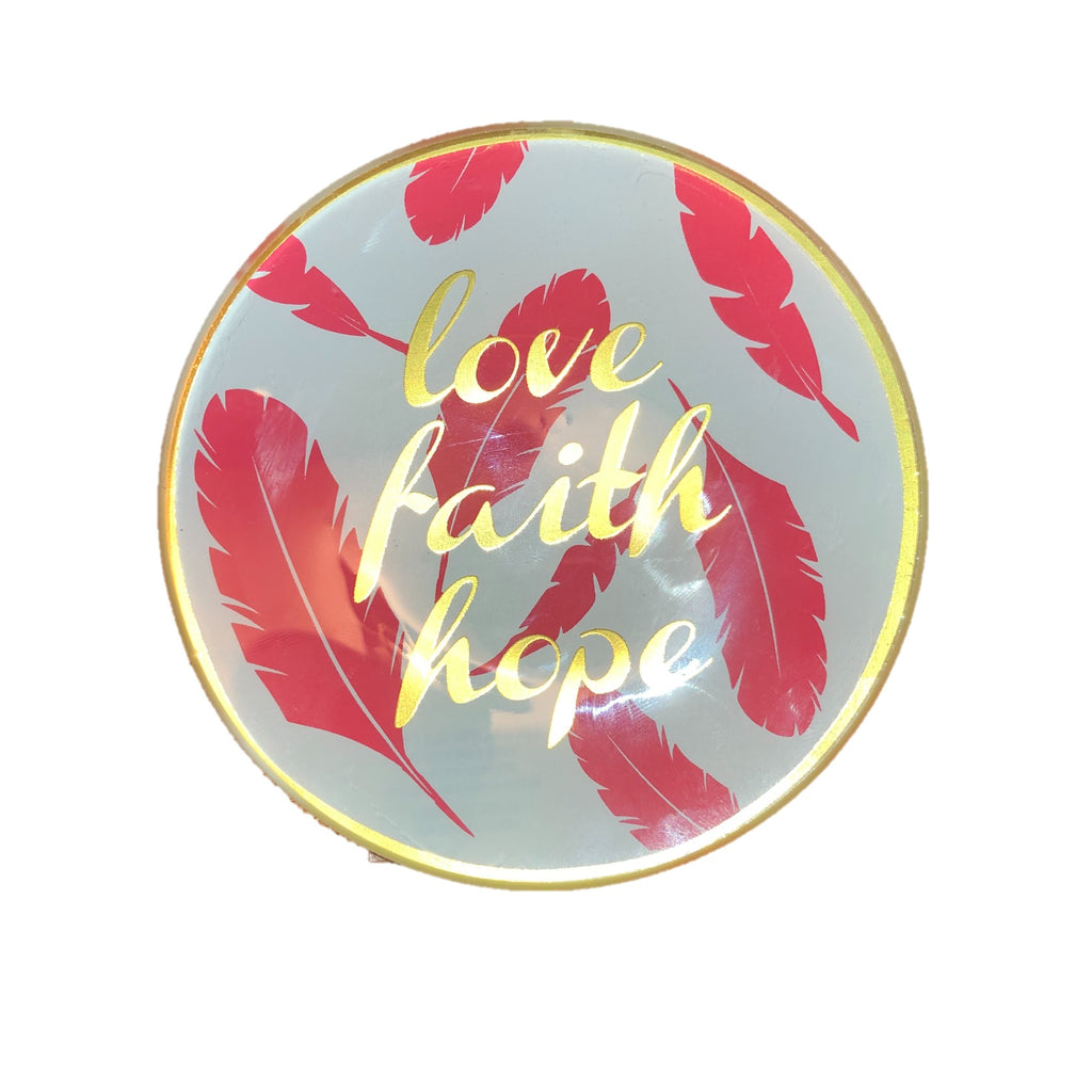 love faith hope christian drinker ring tray