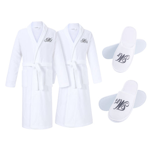 Image of mr and mrs couples bathrobes and slippers set