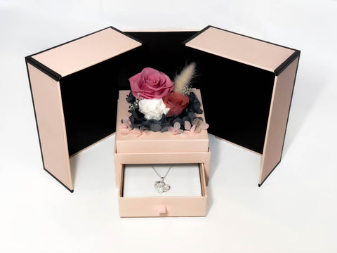 Image of eternal rose mother's day gift box with mom pendant necklace