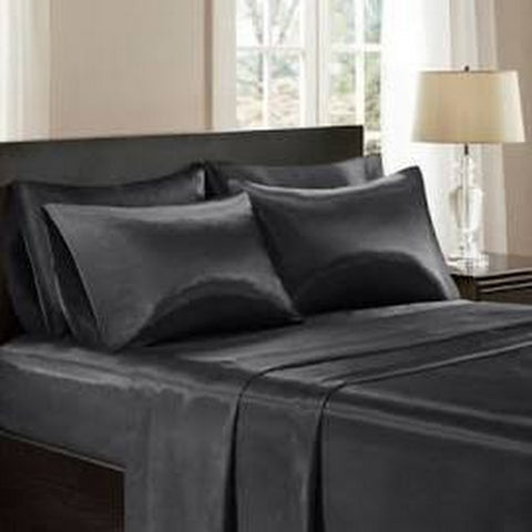 Image of black satin bedding sheet set for romantic night decorations