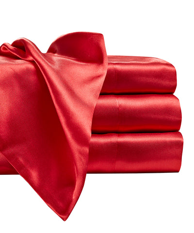 Image of Red Satin Bedding Sheet Set