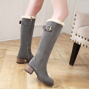 Ember Knee-High Fur Heel Boots - Spirited Jungle