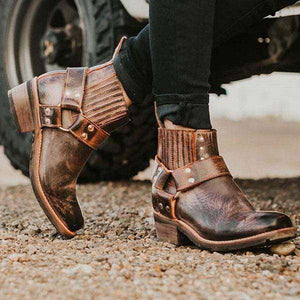 Amy Vintage Motorcycle Low Heel Boots - Spirited Jungle