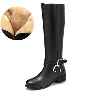 Demetria Leather Fur Knee-High Boots - Spirited Jungle