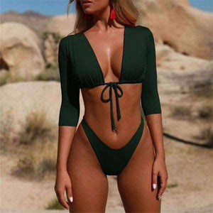 Brazilian Wonder Sleeve Bikini Set - Spirited Jungle