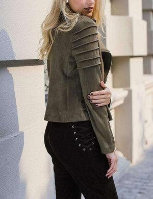 Ashlyn Suede Ruffle Jacket - Spirited Jungle