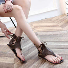 Gladiator Cross-Tied Leather Sandals - Spirited Jungle