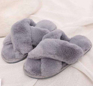 Fuzzy Crossed Fur Slippers - Spirited Jungle