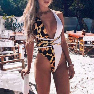 Adriana Deep-Cut Strapped One-Piece Swimsuit - Spirited Jungle