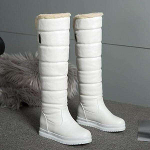 Robin Knee-High Leather Fur Boots - Spirited Jungle