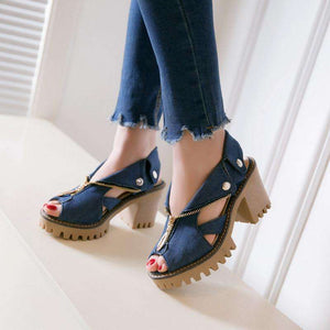 Prussia Denim High Heel Sandals - Spirited Jungle