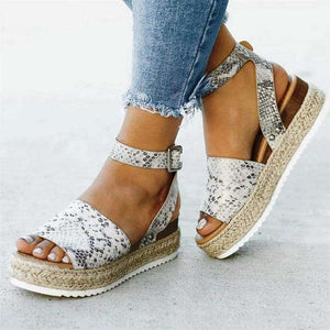 Candice Buckle Wedge Sandals - Spirited Jungle