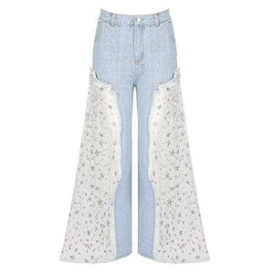 Giselle Ripped Sheer Flare Jeans - Spirited Jungle