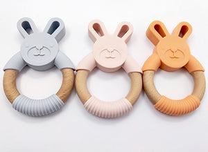Silicone Bunny Teether-Organic Beech Wood Ring