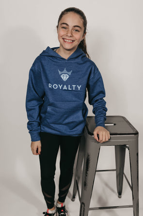 Youth Unisex Classic Hoodie (Navy Blue/Ice Blue)