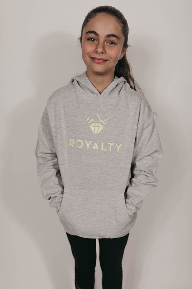 Youth Unisex Classic Hoodie (Heather Grey/Neon Yellow)