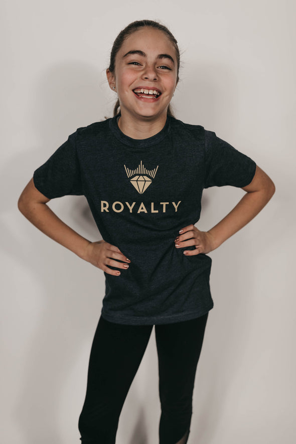 Youth Unisex Classic Royalty T-Shirt (Dark Navy/Gold)
