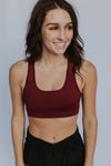 Women's Royalty Racerback Padded Sports Bra (Burgundy)