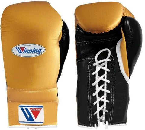 Winning Lace-up Boxing Gloves - Gold · Black - WJapan Store