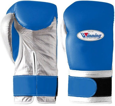 Winning Velcro Boxing Gloves - Blue · Silver - WJapan Store