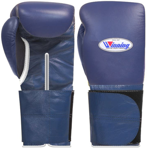 Winning Wide Velcro Boxing Gloves - Navy