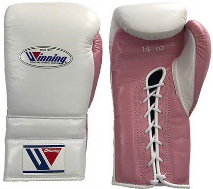 Winning Lace-up Boxing Gloves - White · Pastel Pink - WJapan Store