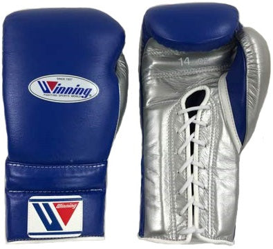 Winning Lace-up Boxing Gloves - Navy · Silver - WJapan Store