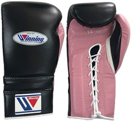 Winning Lace-up Boxing Gloves - Black · Pastel Pink - WJapan Store