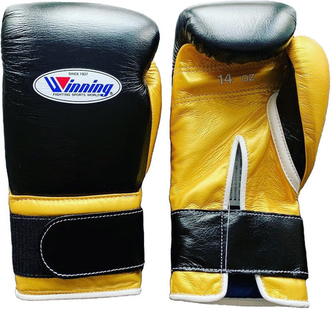 Winning Velcro Boxing Gloves - Black · Gold - WJapan Store