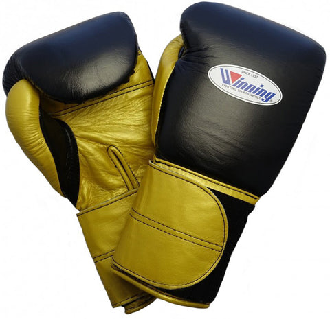 Winning Black/Gold Double Velcro Boxing Gloves - WJapan Store