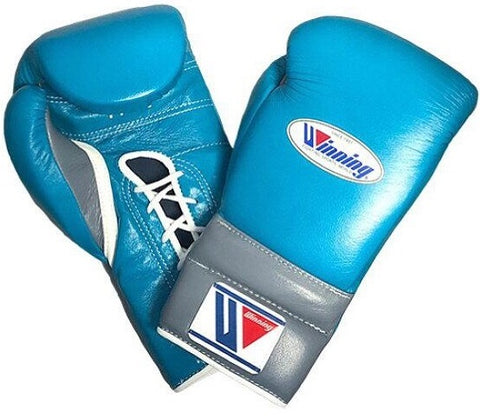 Winning Lace-up Boxing Gloves - Sky Blue · Gray - WJapan Store