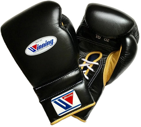 Winning Lace-up Boxing Gloves - Black · Gold - WJapan Store