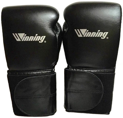 Winning Velcro Boxing Gloves - Wide Strap - Special Logo - Black · Silver - WJapan Store