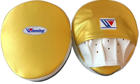 Winning Oval Curved Punch Mitts - Gold · White