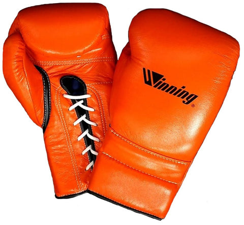 Winning Lace-up Boxing Gloves - Special Logo - Orange · Black