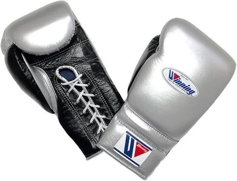 Winning Lace-up Boxing Gloves - Silver · Black